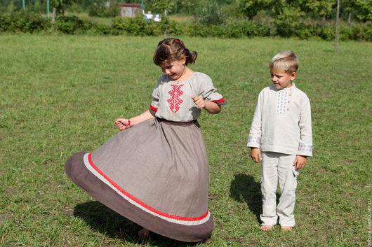 """Одежда для девочек, ручной работы. Ярмарка Мастеров - ручная работа. Купить Платье """"Дочка"""" с ручной вышивкой. Handmade. Коричневый"""