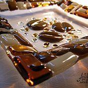 """Тарелки ручной работы. Ярмарка Мастеров - ручная работа комплект тарелка и салфетница  """"Кофейные леденцы"""". Handmade."""