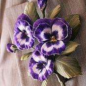 """Украшения ручной работы. Ярмарка Мастеров - ручная работа Брошь """"Viola"""". Цветы из шелка, шелковые цветы, цветы из ткани.. Handmade."""