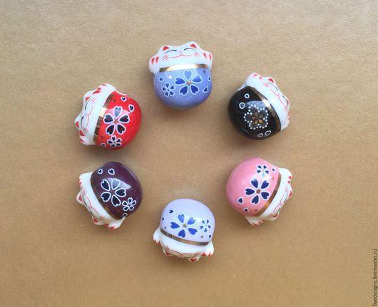 Для украшений ручной работы. Ярмарка Мастеров - ручная работа. Купить Манэки-нэко бусины. Handmade. Комбинированный, Керамика