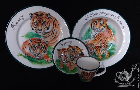 """Сервизы, чайные пары ручной работы. Ярмарка Мастеров - ручная работа. Купить Столовый гарнитур """"Тигры"""". Handmade. Разноцветный"""
