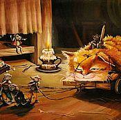 """Картины и панно ручной работы. Ярмарка Мастеров - ручная работа Детская картина маслом """"Кот Кузя"""" 50/31см. Handmade."""