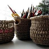 Для дома и интерьера ручной работы. Ярмарка Мастеров - ручная работа Корзинки из джута и льна. Вязание крючком. Handmade.