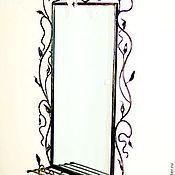 Для дома и интерьера ручной работы. Ярмарка Мастеров - ручная работа Зеркало настенное с полочкой. Handmade.