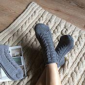 """Аксессуары ручной работы. Ярмарка Мастеров - ручная работа Хлопковые носки """"Благородный серый"""". Handmade."""