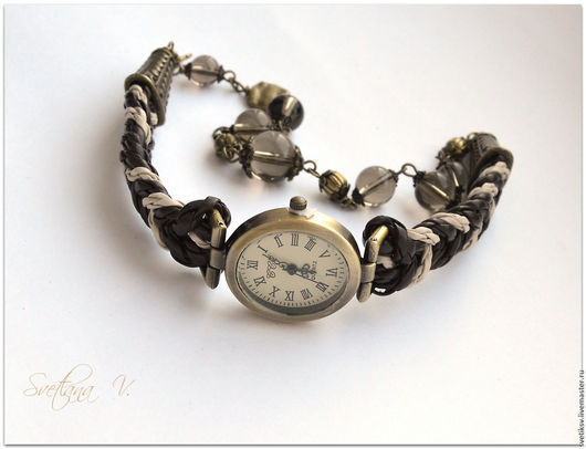 Часы ручной работы. Ярмарка Мастеров - ручная работа. Купить Часы. Handmade. Коричневый, часы, фурнитура под бронзу