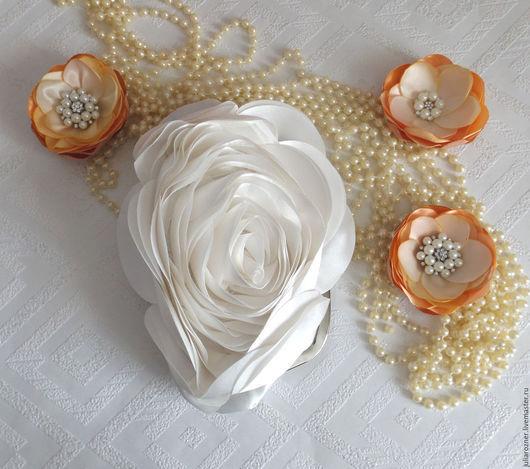 """Одежда и аксессуары ручной работы. Ярмарка Мастеров - ручная работа. Купить Свадебная сумочка """"Заварная роза"""" Молочная. Handmade. Белый"""
