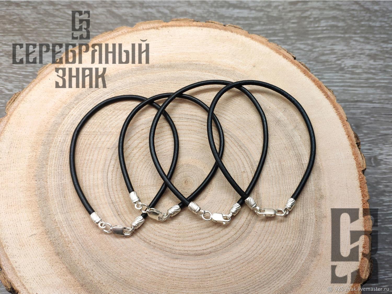 Leather bracelet on the hand. Smooth premium. Silver 925 art. One million eleven thousand three hund, Bead bracelet, St. Petersburg,  Фото №1