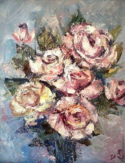 Картины цветов ручной работы. Ярмарка Мастеров - ручная работа Розовый туман (вы сами назначаете цену за работу)). Handmade.