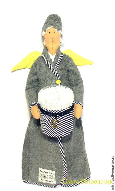 Куклы Тильды ручной работы. Ярмарка Мастеров - ручная работа. Купить Тильда-хранительница ватных дисков и палочек. Handmade. Серый