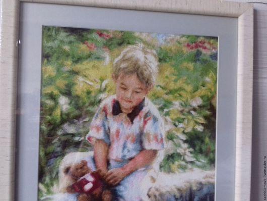 """Люди, ручной работы. Ярмарка Мастеров - ручная работа. Купить Картина вышитая крестом """"Лучшие друзья """". Handmade."""