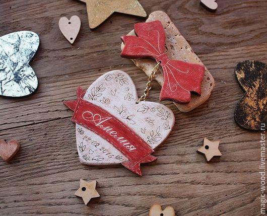 """Подарки для новорожденных, ручной работы. Ярмарка Мастеров - ручная работа. Купить Магнит именной """"Сердечко"""". Handmade. Сердце подвеска, сердце"""