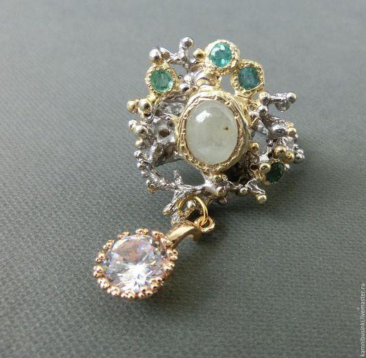 Кольца ручной работы. Ярмарка Мастеров - ручная работа. Купить 18 р-р кольцо аквамарин, изумруд серебро 925 золото. Handmade.