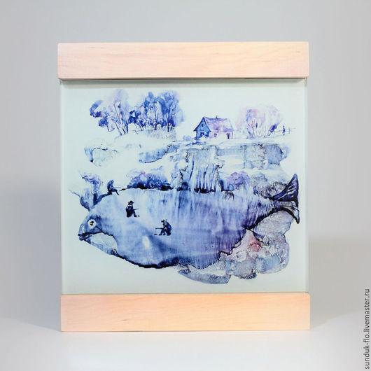 Стеклянная картина `Зимняя рыбалка`