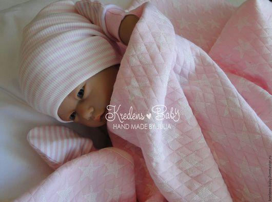 """Для новорожденных, ручной работы. Ярмарка Мастеров - ручная работа. Купить Пеленка-плед """"Звездочки"""" (розовая). Handmade. Бледно-розовый"""