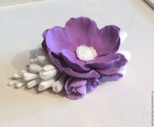 Заколки ручной работы. Ярмарка Мастеров - ручная работа. Купить Заколка - зажим для волос с цветами из полимерной глины. Handmade. Фиолетовый