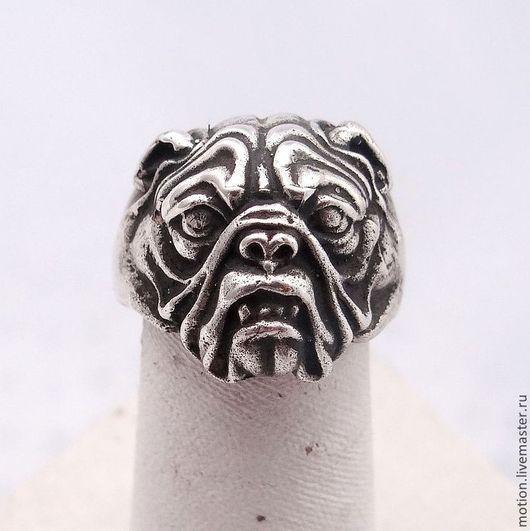 Кольца ручной работы. Ярмарка Мастеров - ручная работа. Купить Кольцо Серебряное Бульдог, кольцо серебро 925 пробы, кольцо собачка. Handmade.