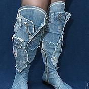Обувь ручной работы. Ярмарка Мастеров - ручная работа Сапоги высокие джинсовые без мельхиора. Handmade.
