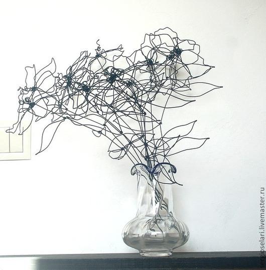 Букеты ручной работы. Ярмарка Мастеров - ручная работа. Купить проволочные цветы. Handmade. Черный, флористика, стальная проволока