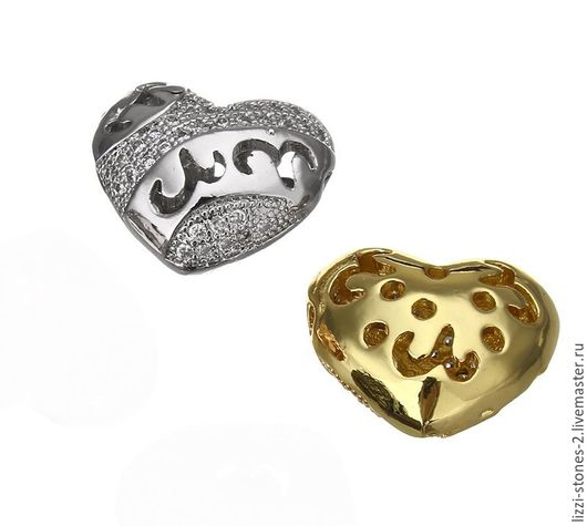 Бусина Сердце ажурное серебро и золото (Milano) Евгения (Lizzi-stones-2)