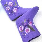 """Обувь ручной работы. Ярмарка Мастеров - ручная работа валенки домашние """"Розы под снегом"""". Handmade."""