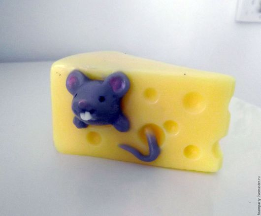 """Мыло ручной работы. Ярмарка Мастеров - ручная работа. Купить Мыло 3D """"Мышка в сыре"""". Handmade. Желтый, мышонок"""