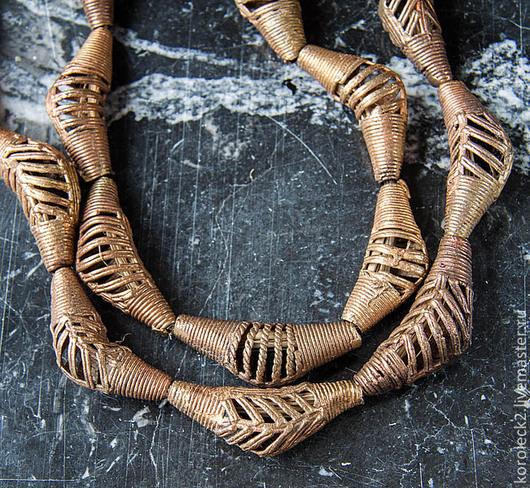 Для украшений ручной работы. Ярмарка Мастеров - ручная работа. Купить Африканские латунные крупные изогнутые  бусины. Handmade. Золотой