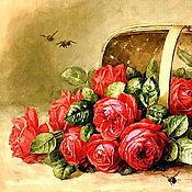 """Материалы для творчества ручной работы. Ярмарка Мастеров - ручная работа Принты """"Розы в корзине"""" Артикул П032. Handmade."""