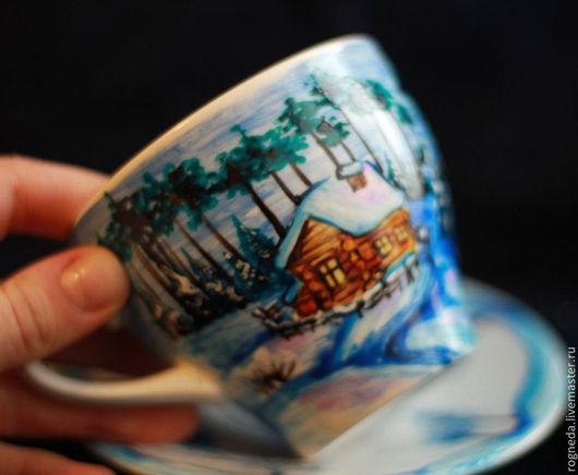 """Сервизы, чайные пары ручной работы. Ярмарка Мастеров - ручная работа. Купить Чайная пара """"Зимнее утро"""". Handmade. Зима"""