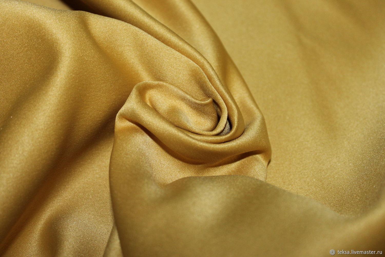 Атлас плотный матовый прокатный цвет № 20 светлое золото, Ткани, Видное,  Фото №1