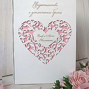 Свадебный салон handmade. Livemaster - original item Wooden folder for marriage certificate
