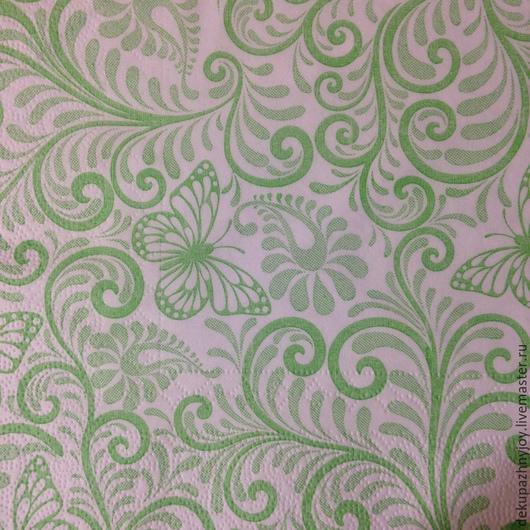 Нежно-зеленая фоновая салфеточка для декупажа с бабочками Салфетка пр-во Литва Декупажная радость