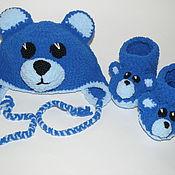 "Работы для детей, handmade. Livemaster - original item Plush baby kit ""Blue Bear"" (cap and booties). Handmade."