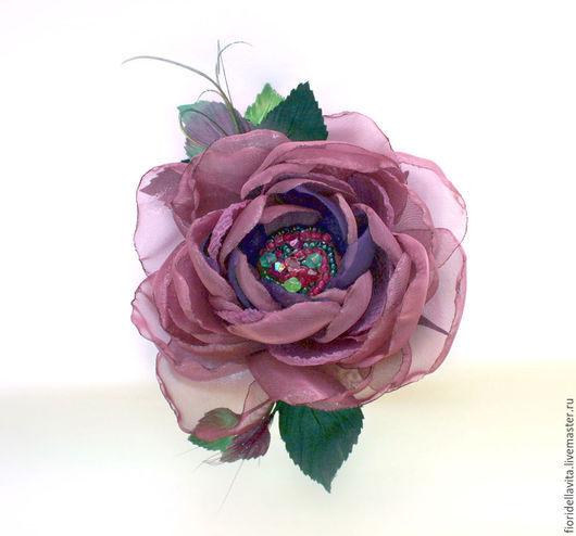 """Броши ручной работы. Ярмарка Мастеров - ручная работа. Купить ЦВЕТЫ ИЗ ТКАНИ. Фантазийная роза """"Сливочная ежевика"""". Handmade."""