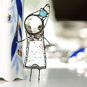 Украшения ручной работы. Ярмарка Мастеров - ручная работа Аквамариновая девочка. Брошь. Витражные украшения.. Handmade.