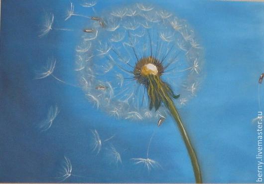 Картины цветов ручной работы. Ярмарка Мастеров - ручная работа. Купить Мгновение жизни. Handmade. Голубой, белый, одуванчики