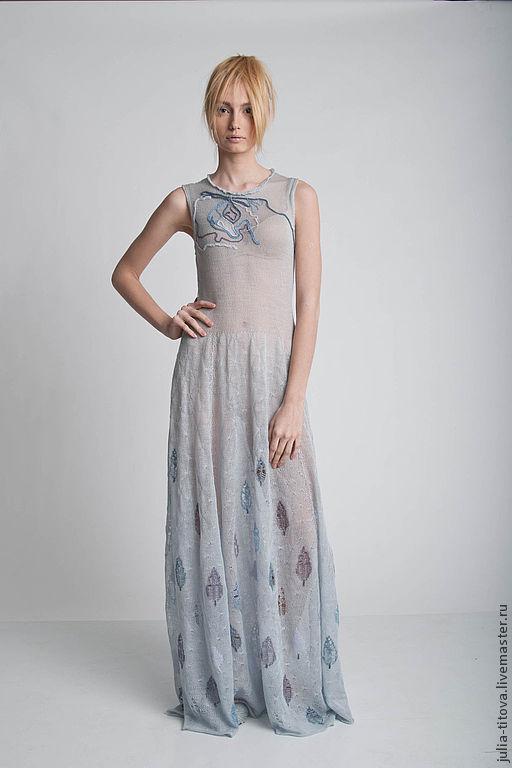 """Платья ручной работы. Ярмарка Мастеров - ручная работа. Купить Платье """"Тонкий иней"""". Handmade. Серый, платье в пол"""