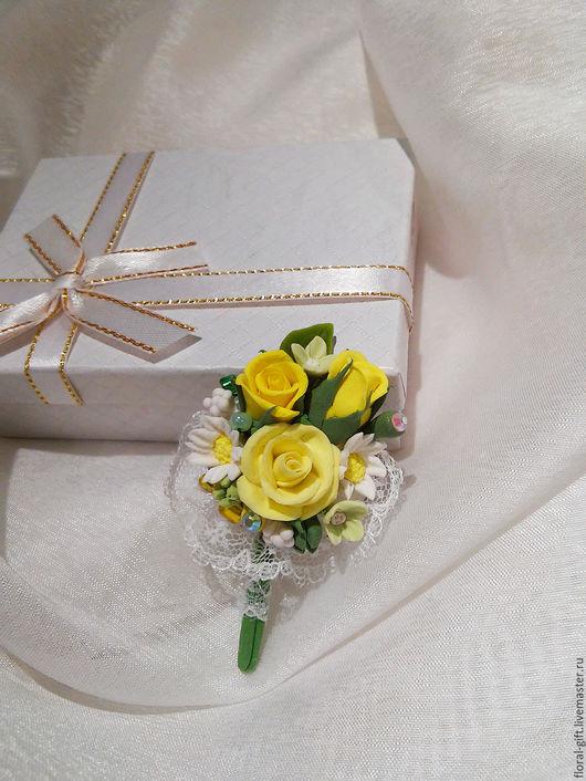 Броши ручной работы. Ярмарка Мастеров - ручная работа. Купить Брошь с Желтыми розами. Handmade. Лимонный, украшения ручной работы