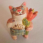 Керамический котик с цветком №1