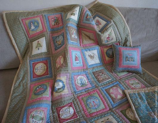 """Текстиль, ковры ручной работы. Ярмарка Мастеров - ручная работа. Купить Лоскутный плед """" Ангелочки"""". Handmade. Стеганое одеяло"""