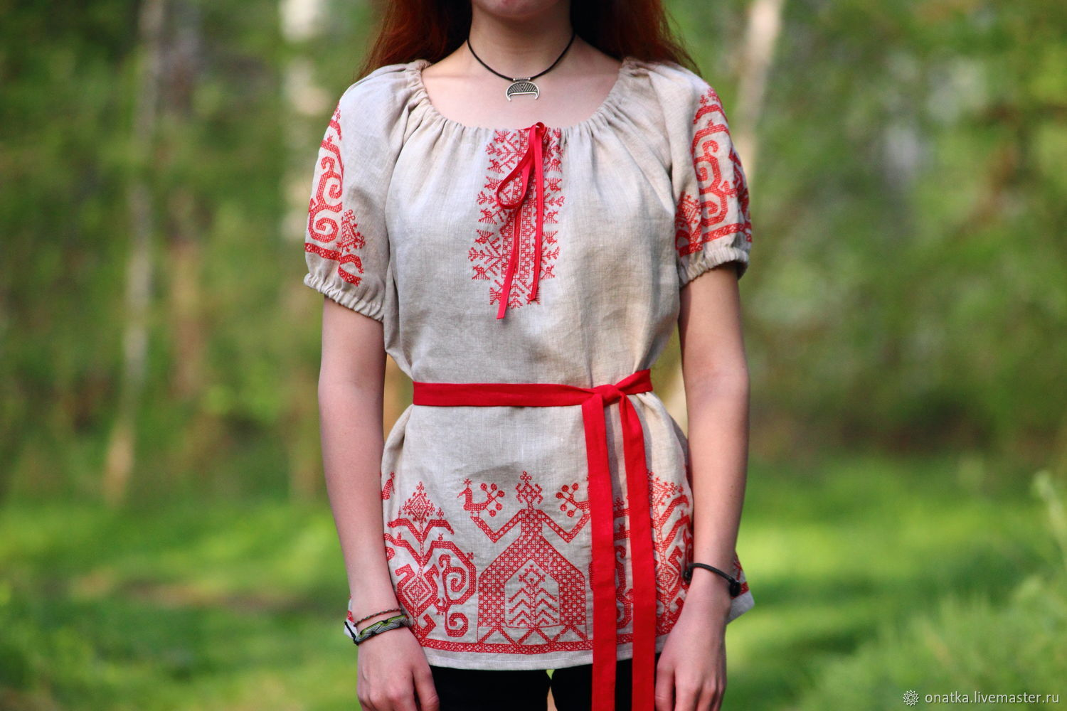Blouse 'Rozhanitsa' with Olonets ornament, Blouses, Voronezh, Фото №1