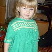 """Работы для детей, ручной работы. Ярмарка Мастеров - ручная работа вязаное детское платье """"Травка"""". Handmade."""