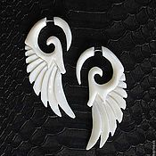 Украшения handmade. Livemaster - original item Earrings faux ivory Wings. Handmade.