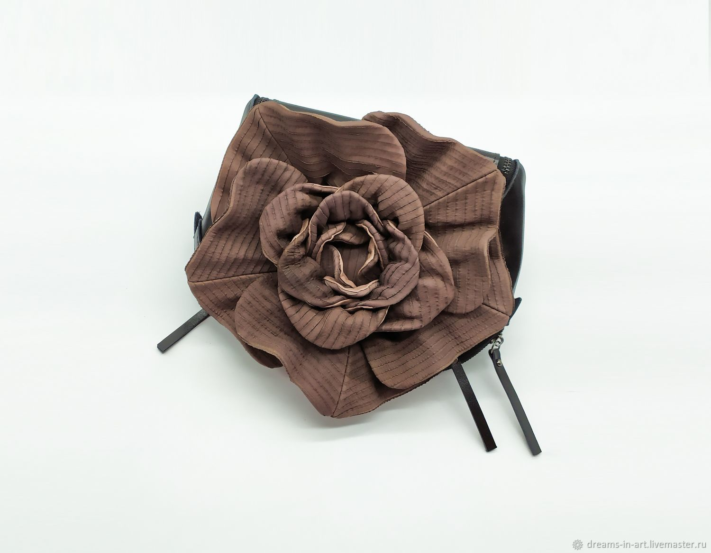 Кожаная сумка с цветком/ шоколад (два комплекта ремешков), Сумки, Ковров, Фото №1