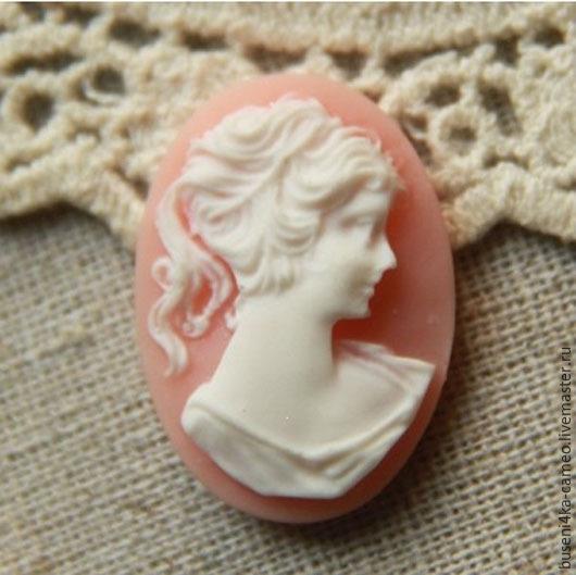 Для украшений ручной работы. Ярмарка Мастеров - ручная работа. Купить Камея Дама классическая, розовая 18х25мм (пластик) 1шт.. Handmade.