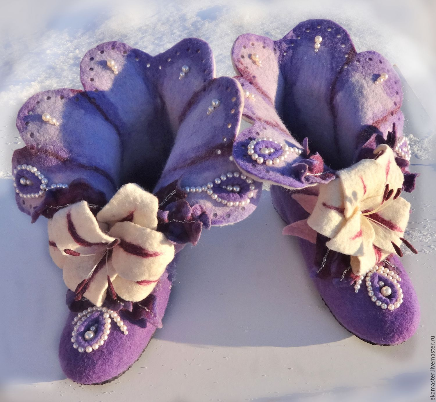 Slippers felted home 'Lily Pearl', Slippers, Ekaterinburg,  Фото №1