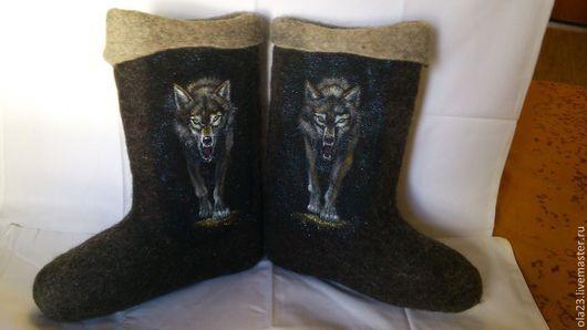 """Обувь ручной работы. Ярмарка Мастеров - ручная работа. Купить Валенки """"ВОЛК"""". Handmade. Черный, валенки, волк, подарок"""