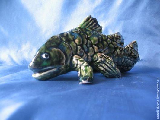 """Статуэтки ручной работы. Ярмарка Мастеров - ручная работа. Купить анималистическая скульптура """"кистеперая рыба"""". Handmade. Тёмно-зелёный, рыба"""