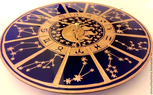 """Часы для дома ручной работы. Ярмарка Мастеров - ручная работа. Купить Часы настенные """"Гороскоп"""". Handmade. Тёмно-синий, Витраж"""