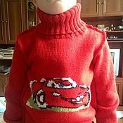 Работы для детей, ручной работы. Ярмарка Мастеров - ручная работа Свитер для мальчика с Молнией Маккуином. Handmade.